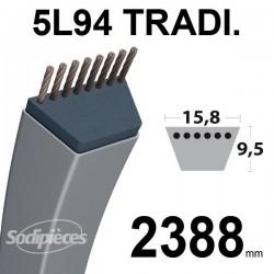 Courroie 5L940 Traditionnelle Trapézoïdale. 15,8 mm x 2388 mm.