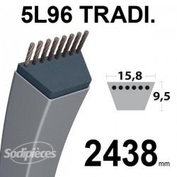 Courroie 5L960 Traditionnelle Trapézoïdale. 15,8 mm x 2438 mm.