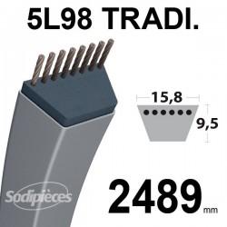 Courroie 5L980 Traditionnelle Trapézoïdale. 15,8 mm x 2489 mm.