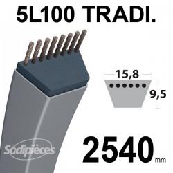 Courroie 5L100 Traditionnelle Trapézoïdale. 15,8 mm x 2540 mm.