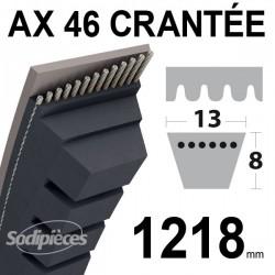 Courroie AX46 Trapézoïdale crantée. 13 mm x 1218 mm.