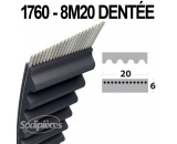 Courroie 1760-8M20 Simple Denture. Larg : 20 mm x 1760 mm.