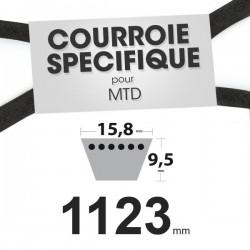 Courroie spécifique MTD 7540281. 15,8 mm x 1123 mm.