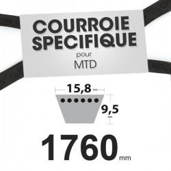 Courroie spécifique MTD 7540329A, 954-04001, 7540433. 15,8 mm x 1760 mm.