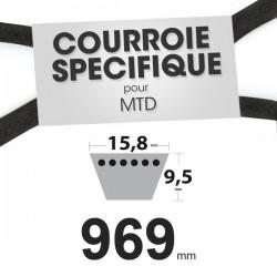 Courroie spécifique MTD 7540240. 15,8 mm x 969 mm.