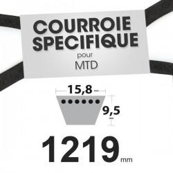 Courroie spécifique MTD 7540370. 15,8 mm x 1219 mm.