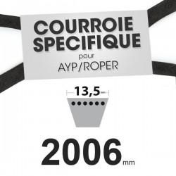 Courroie spécifique AYP/Roper 106085X. 13,5 mm x 2006 mm.