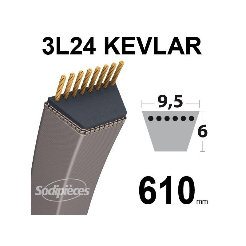 Courroie 3L24 Kevlar Trapézoïdale. 9,5 mm x 610 mm.