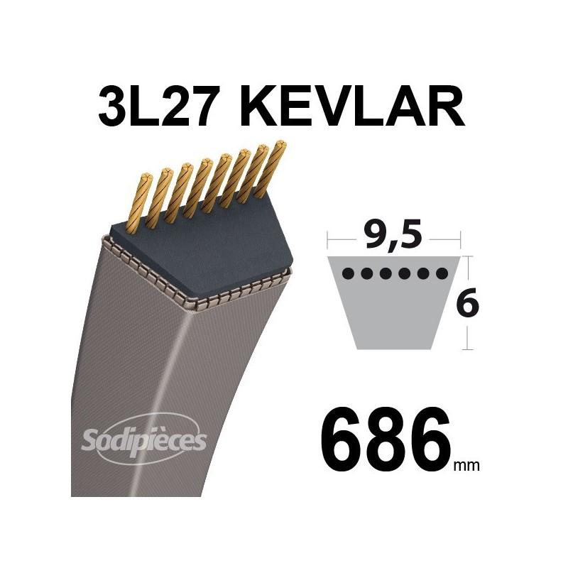 Courroie 3L27 Kevlar Trapézoïdale. 9,5 mm x 686 mm.
