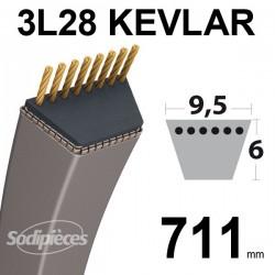 Courroie 3L28 Kevlar Trapézoïdale. 9,5 mm x 711 mm.