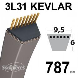 Courroie 3L31 Kevlar Trapézoïdale. 9,5 mm x 787 mm.