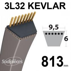 Courroie 3L32 Kevlar Trapézoïdale. 9,5 mm x 813 mm.