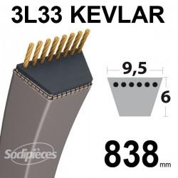 Courroie 3L33 Kevlar Trapézoïdale. 9,5mm x 838 mm.