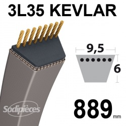 Courroie 3L35 Kevlar Trapézoïdale. 9,5 mm x 889 mm.