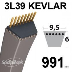 Courroie 3L39 Kevlar Trapézoïdale. 9,5 mm x 991 mm.
