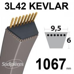 Courroie 3L42 Kevlar Trapézoïdale. 9,5 mm x 1067 mm.