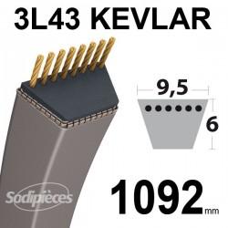 Courroie 3L43 Kevlar Trapézoïdale. 9,5 mm x 1092 mm.