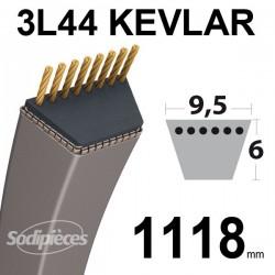 Courroie 3L44 Kevlar Trapézoïdale. 9,5 mm x 1118 mm.