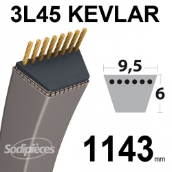 Courroie 3L45 Kevlar Trapézoïdale. 9,5 mm x 1143 mm.