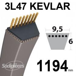 Courroie 3L47 Kevlar Trapézoïdale. 9,5 mm x 1194 mm.