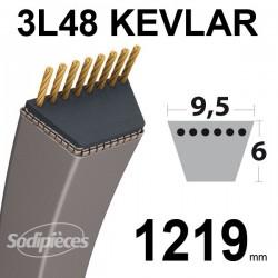 Courroie 3L48 Kevlar Trapézoïdale. 9,5 mm x 1219 mm.