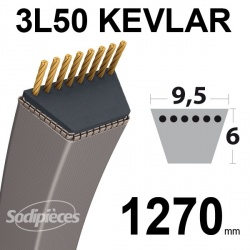 Courroie 3L50 Kevlar Trapézoïdale. 9,5 mm x 1270 mm.