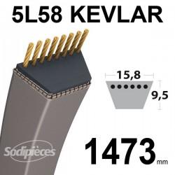Courroie 5L58 Kevlar Trapézoïdale. 15,8 mm x 1473 mm.