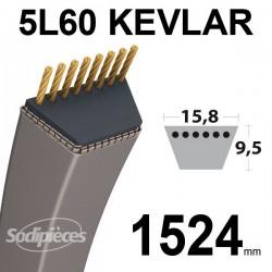 Courroie 5L60 Kevlar Trapézoïdale. 15,8 mm x 1524 mm.