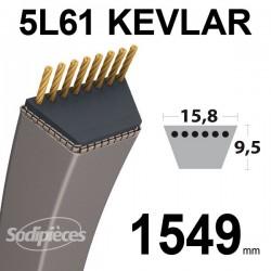 Courroie 5L61 Kevlar Trapézoïdale. 15,8 mm x 1549 mm.