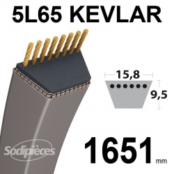 Courroie 5L65 Kevlar Trapézoïdale. 15,8 mm x 1651 mm.