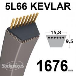 Courroie 5L66 Kevlar Trapézoïdale. 15,8 mm x 1676 mm.