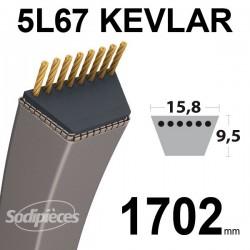 Courroie 5L67 Kevlar Trapézoïdale. 15,8 mm x 1702 mm.