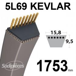 Courroie 5L69 Kevlar Trapézoïdale. 15,8 mm x 1753 mm.