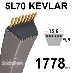 Courroie 5L70 Kevlar Trapézoïdale. 15,8 mm x 1778 mm.