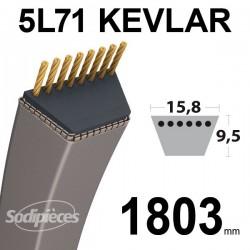 Courroie 5L71 Kevlar Trapézoïdale. 15,8 mm x 1803 mm.