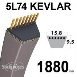 Courroie 5L74 Kevlar Trapézoïdale. 15,8 mm x 1880 mm.