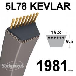 Courroie 5L78 Kevlar Trapézoïdale. 15,8 mm x 1981 mm.