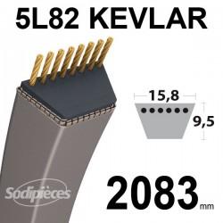 Courroie 5L82 Kevlar Trapézoïdale. 15,8 mm x 2083 mm.