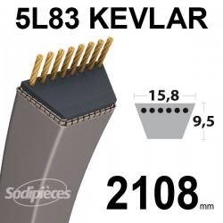 Courroie 5L83 Kevlar Trapézoïdale. 15,8 mm x 2108 mm.
