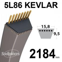 Courroie 5L86 Kevlar Trapézoïdale. 15,8 mm x 2184 mm.