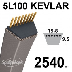 Courroie 5L100 Kevlar Trapézoïdale. 15,8 mm x 2540 mm.