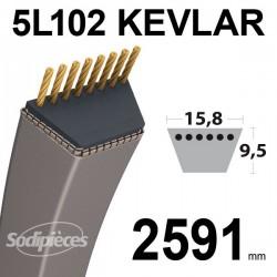 Courroie 5L102 Kevlar Trapézoïdale. 15,8 mm x 2591 mm.