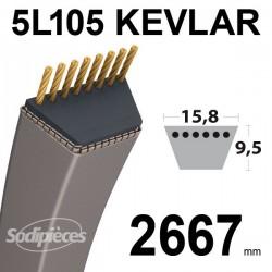 Courroie 5L105 Kevlar Trapézoïdale. 15,8 mm x 2667 mm.