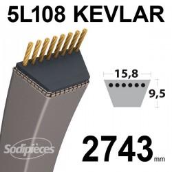 Courroie 5L108 Kevlar Trapézoïdale. 15,8 mm x 2743 mm.
