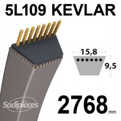 Courroie 5L109 Kevlar Trapézoïdale. 15,8 mm x 2768 mm.