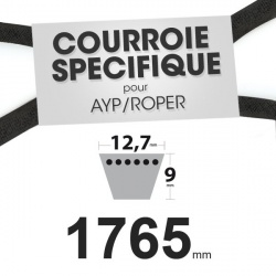 Courroie spécifique AYP/Roper 62828. 12,7 mm x 1765 mm.