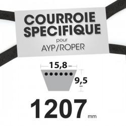 Courroie spécifique AYP/Roper 106 729 X. 15,8 mm x 1207 mm.