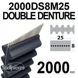 Courroie 2000DS8M25 Double denture. 25 mm x 2000 mm.
