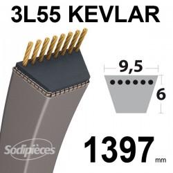 Courroie 3L55 Kevlar Trapézoïdale. 9,5 mm x 1397 mm.