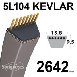 Courroie 5L104 Kevlar Trapézoïdale. 15,8 mm x 2642 mm.